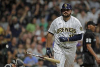 Milwaukee Brewers' Rowdy Tellez tosses his bat after hitting a solo home run during the sixth inning of a baseball game against the Chicago White Sox, Saturday, July 24, 2021, in Milwaukee. (AP Photo/Aaron Gash)