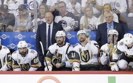 May 20, 2018; Winnipeg, Manitoba, CAN; Vegas Golden Knights head coach Gerard Gallant in the third period in game five of the Western Conference Final of the 2018 Stanley Cup Playoffs against the Winnipeg Jets at Bell MTS Place. Mandatory Credit: James Carey Lauder-USA TODAY Sports