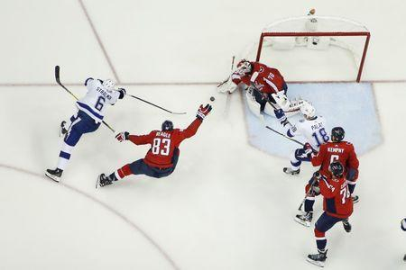 May 21, 2018; Washington, DC, USA; Washington Capitals goaltender Braden Holtby (70) makes a save on Tampa Bay Lightning defenseman Anton Stralman (6) in the second period in game six of the Eastern Conference Final in the 2018 Stanley Cup Playoffs at Capital One Arena. The Capitals won 3-0. Mandatory Credit: Geoff Burke-USA TODAY Sports