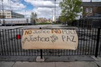 The scene at 24th and S. Sawyer in Chicago's Little Village neighborhood Thursday April 15, 2021, where 13-year-old Adam Toledo was fatally shot by a Chicago officer in March.