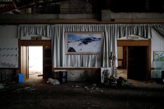 <p>A poster of the snow-covered resort hangs on a wall at the abandoned Alps Ski Resort located near the demilitarized zone separating the two Koreas in Goseong, South Korea, Jan. 17, 2018. (Photo: Kim Hong-Ji/Reuters) </p>
