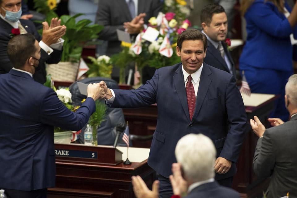DeSantis arrives in the Florida House of Representatives chamber to give his State of the State speech in Tallahassee, March 2, 2021.