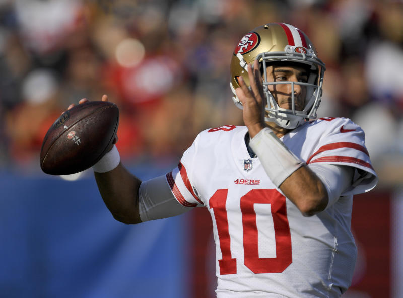 Jimmy Garoppolo signed a record-setting deal with the 49ers on Thursday. (AP)