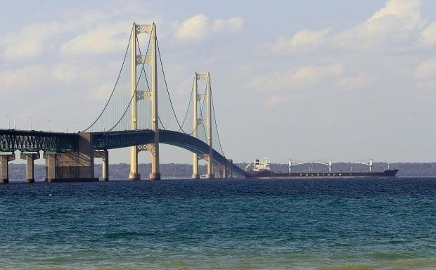 The Straits of Mackinac, where Lake Michigan meets Lake Huron, has been described by researchers as the 'worst possible place' for a Great Lakes oil spill. (AFP/Getty Images - image credit)