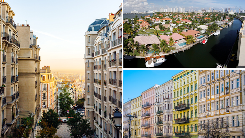 The global luxury property markets where the super-rich will be buying property have been named. Left: Paris; Right: Miami, Berlin. (Source: Getty)