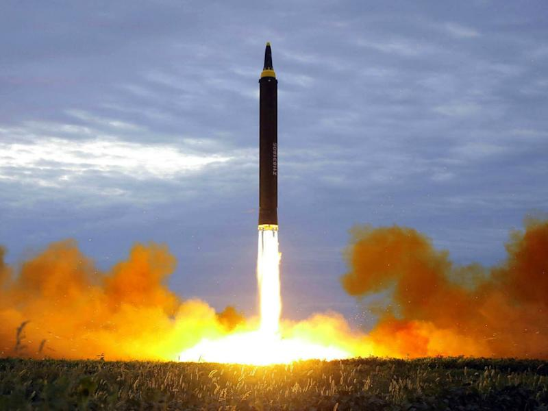 The test launch of a Hwasong-12 intermediate range missile from Pyongyang in August - which also flew over Japan: Korea News Service/AP