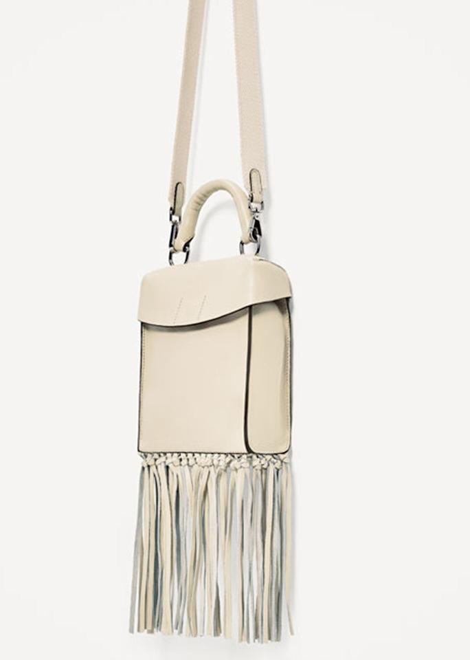 "Leather Crossbody Bag, $69.90; at <a rel=""nofollow"" href=""http://www.zara.com/us/en/woman/bags/view-all/leather-crossbody-bag-with-fringing-c819022p4065563.html"">Zara</a>"