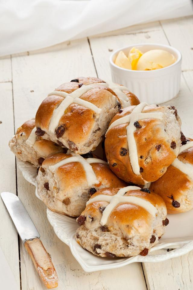 """<p>This classic British fare, filled with raisins and candied citrus, should always find a home on your Easter dinner table. </p><p><strong><a rel=""""nofollow"""" href=""""http://www.womansday.com/food-recipes/food-drinks/recipes/a21048/hot-cross-buns-3699/"""">Get the recipe</a>. </strong></p>"""