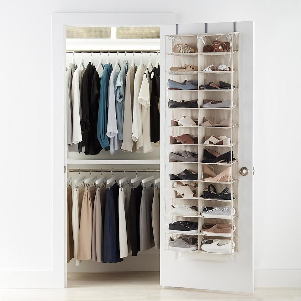 """<p>All your shoes will be visible in this <a href=""""https://www.popsugar.com/buy/24-Pocket-Over-Door-Shoe-Organizer-409006?p_name=24-Pocket%20Over%20the%20Door%20Shoe%20Organizer&retailer=containerstore.com&pid=409006&price=30&evar1=casa%3Auk&evar9=47214927&evar98=https%3A%2F%2Fwww.popsugar.com%2Fhome%2Fphoto-gallery%2F47214927%2Fimage%2F47217524%2F24-Pocket-Over-Door-Shoe-Organizer&list1=shopping%2Corganization%2Capartments%2Csmall%20space%20living%2Chome%20organization%2Chome%20shopping&prop13=api&pdata=1"""" rel=""""nofollow"""" data-shoppable-link=""""1"""" target=""""_blank"""" class=""""ga-track"""" data-ga-category=""""Related"""" data-ga-label=""""https://www.containerstore.com/s/24-pocket-over-the-door-shoe-organizer/d?productId=10036726&amp;q=shoe%20organizer"""" data-ga-action=""""In-Line Links"""">24-Pocket Over the Door Shoe Organizer</a> ($30).</p>"""