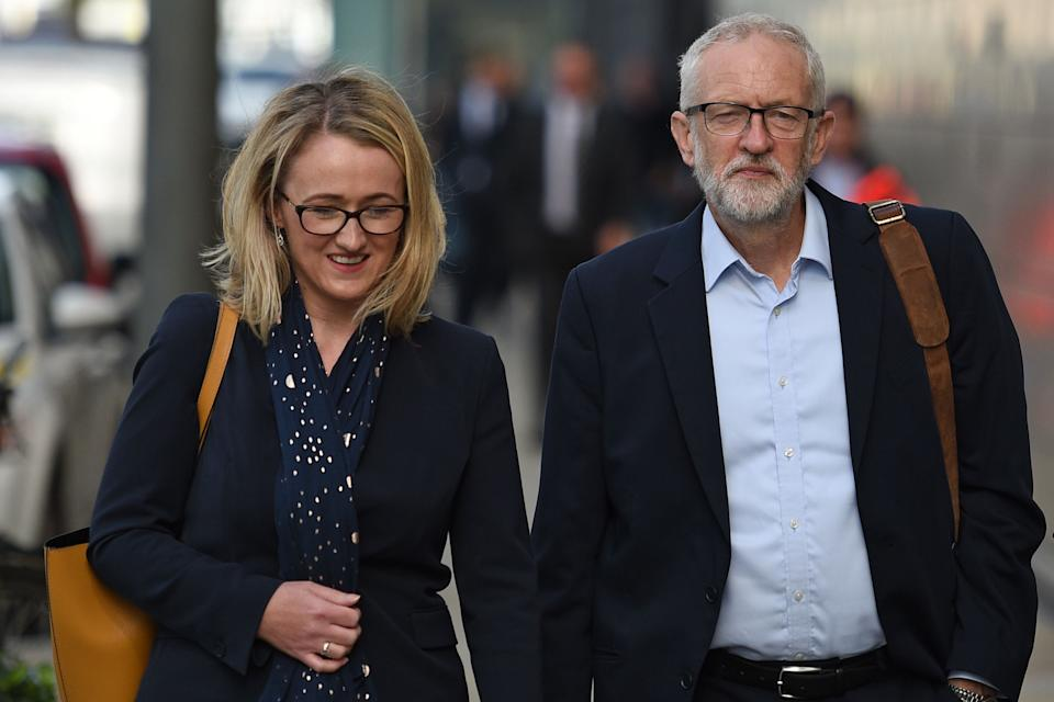 Britain's main opposition Labour Party leader Jeremy Corbyn (R) and Labour's Shadow Secretary of State for Business Energy and Industrial Strategy, Rebecca Long-Bailey (L) arrive for a meeting of the Shadow Cabinet in Salford, north-west England, on September 2, 2019. - Corbyn convened his top team in Salford to finalise their planning in an attempt to stop the UK leaving the European Union without a deal ahead of the return of parliament. (Photo by Oli SCARFF / AFP)        (Photo credit should read OLI SCARFF/AFP via Getty Images)