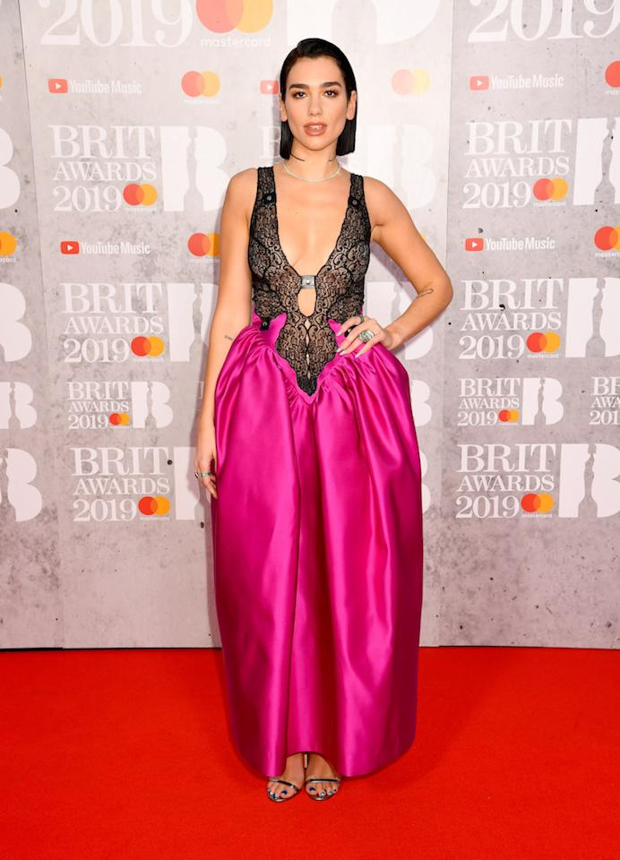 <p>Singer Dua Lipa's Christopher Kane AW19 dress divided fans at this year's Brit Awards. What do think? <em>[Photo: Getty]</em> </p>