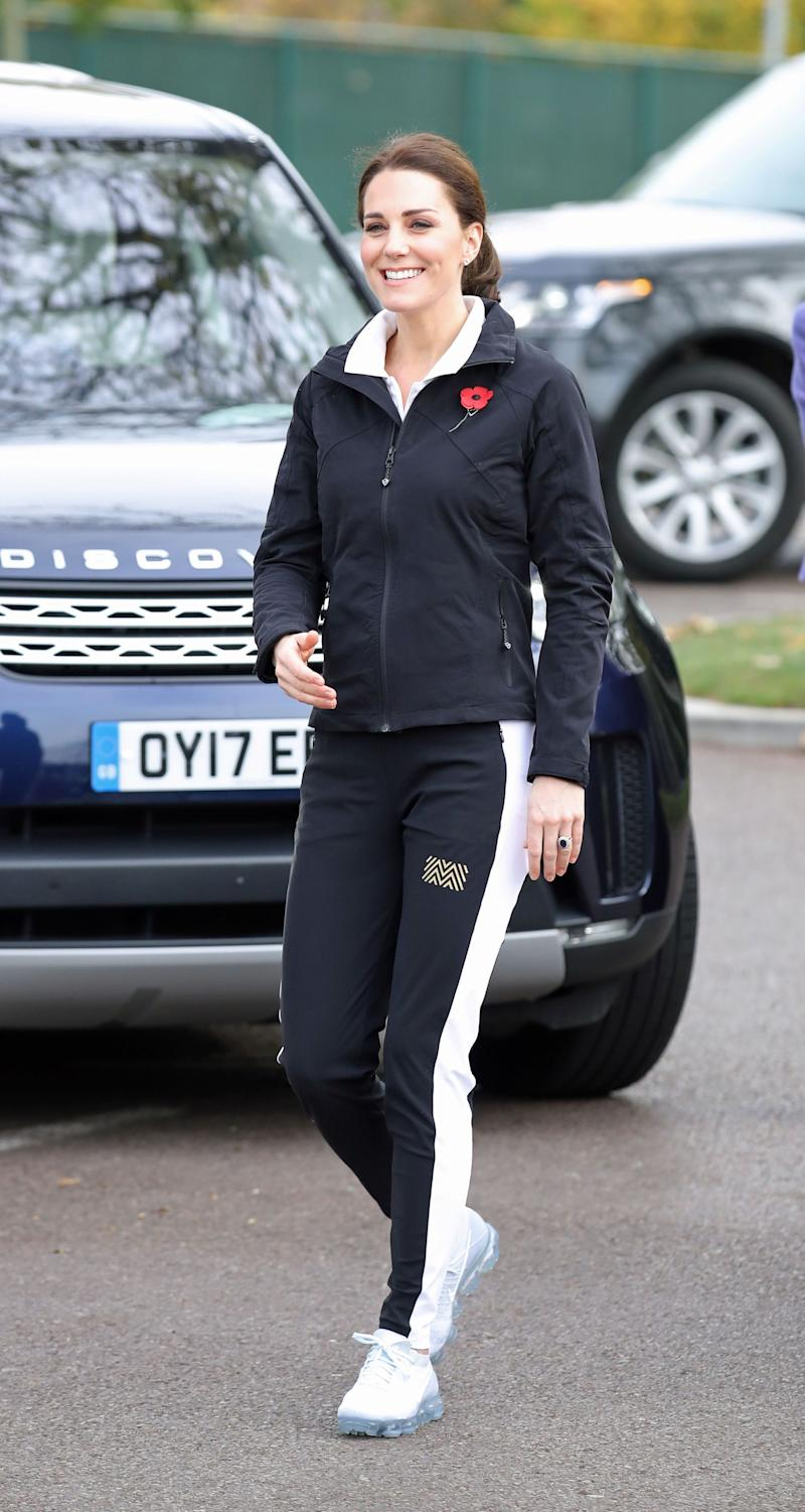 The Duchess of Cambridge arrives for a visit to the Lawn Tennis Association at the National Tennis Centre, London.