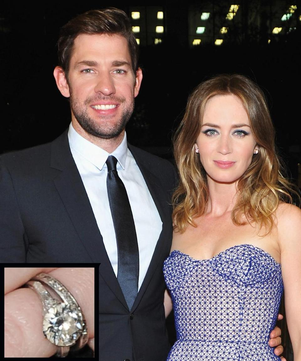 <p>Actor John Krasinski proposed to actress Emily Blunt in 2009 with an Edwardian engagement ring featuring a three-carat diamond. The couple wed in July 2010.</p>