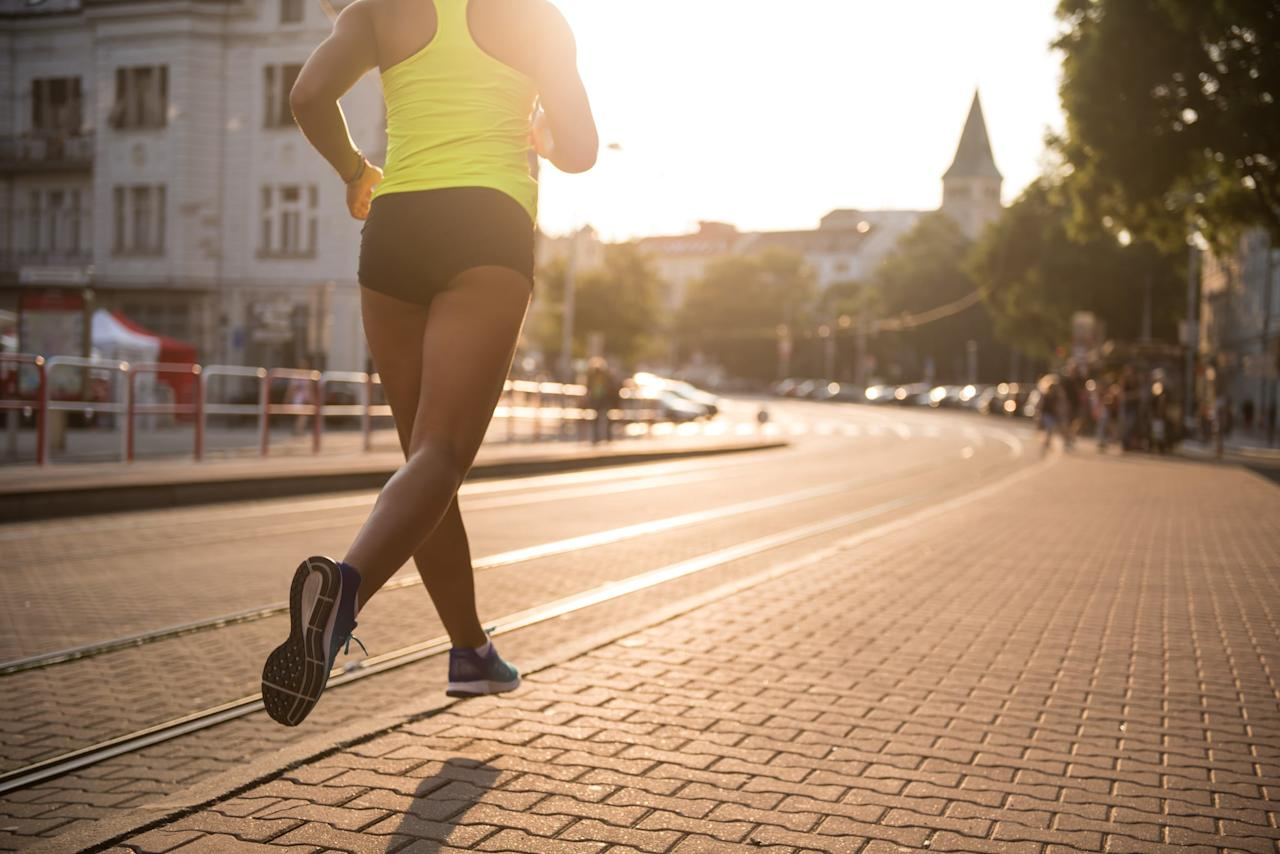 "<p>If you're working out at home, start outside, going for a quick run to get your heart rate up. First, jog for two to three minutes, and as soon as you feel warm, run quickly - this should feel like a 7 or 8, out of 10, in terms of difficulty - for about five to 10 minutes. ""This will get your heart rate way up so you burn tons of calories in the moves that follow, and get your body warm so you don't get injured,"" Lyuda told POPSUGAR.</p>"