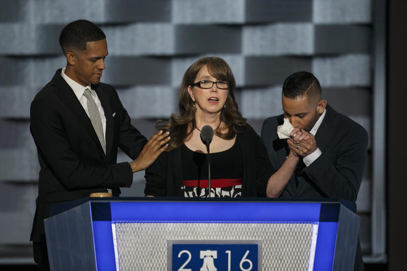 Brandon Wolf, from left, Christine Leinonen and Jose Arraigada speak about gun control at the 2016 Democratic National Convention, in Philadelphia on July 27, 2016.   Marcus Yam—Los Angeles Times via Getty Images