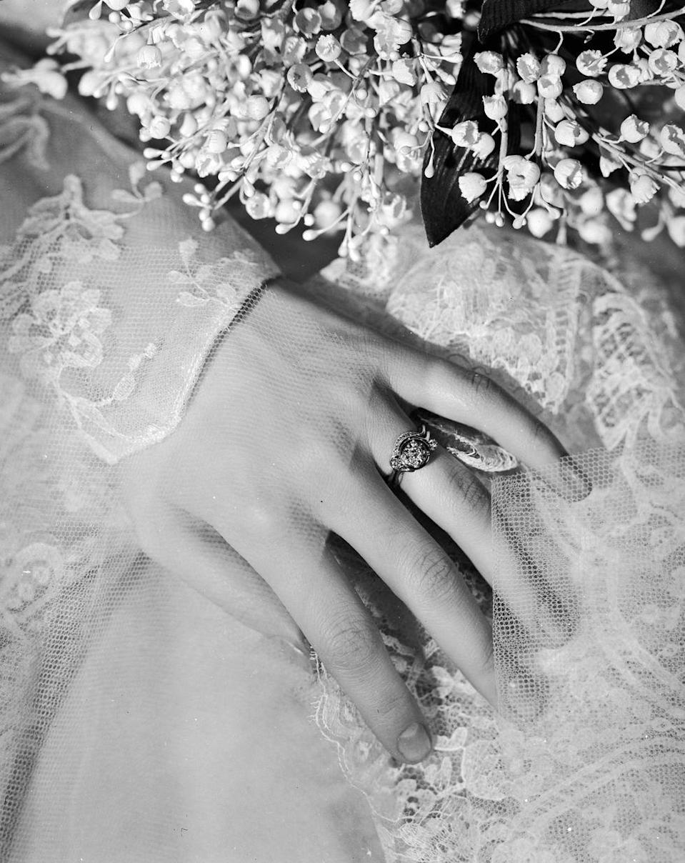 <p>Fashion in the '40s was all about doing more with less—and engagement rings were no exception. Jewelers added intricate designs, like leaves, flowers, bows, or hearts, to settings to make up for smaller stones.</p>