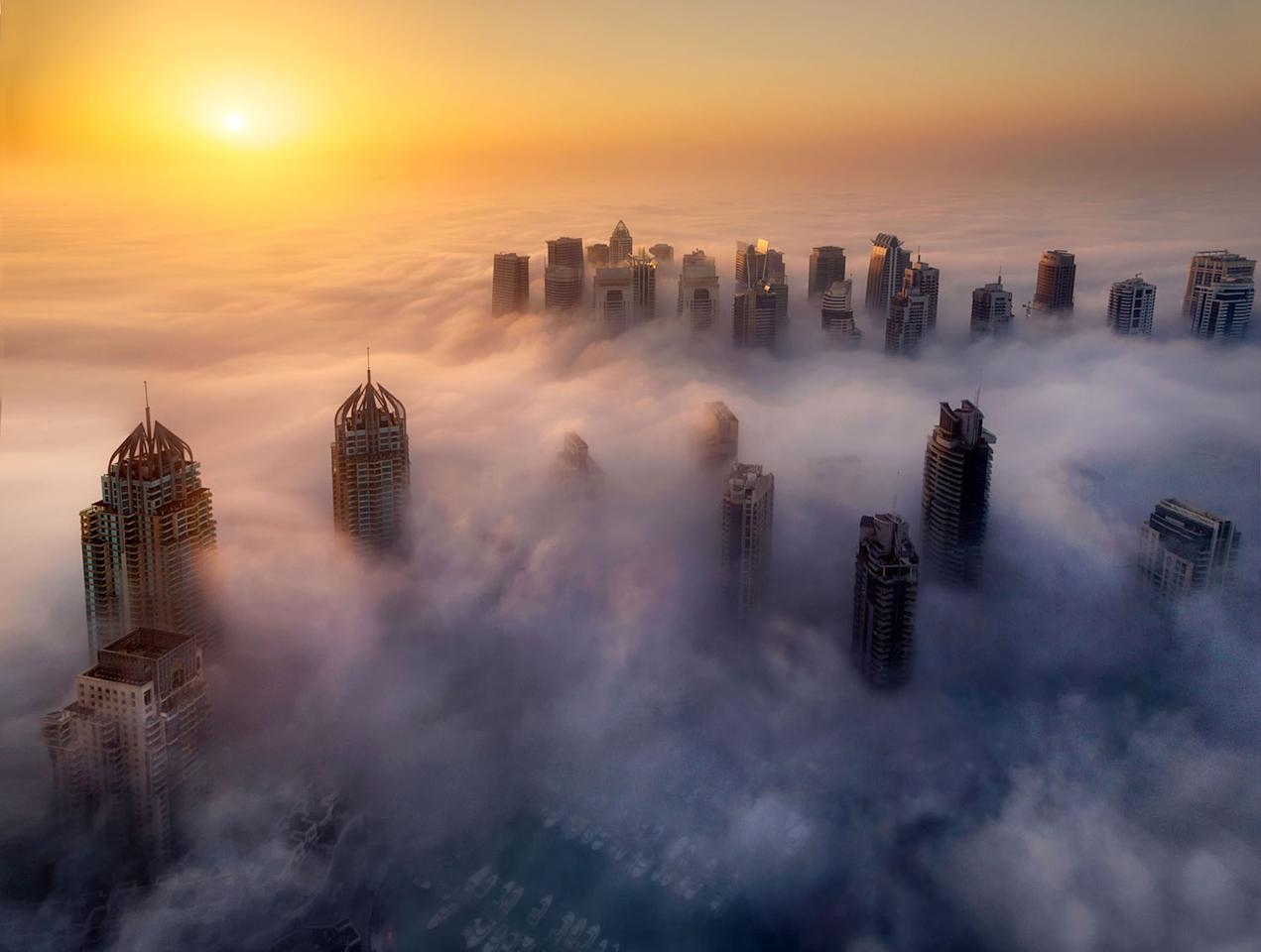 <p>Thick fog rolls into Dubai in the early hours of the day. (Photo: Rustam Azmi/Caters News) </p>
