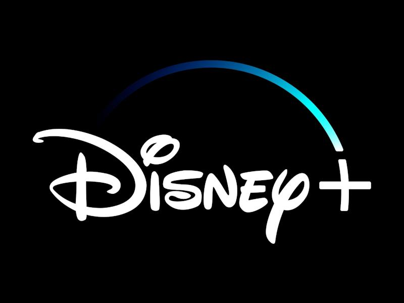 Disney+ logo, video streaming service, graphic element on black
