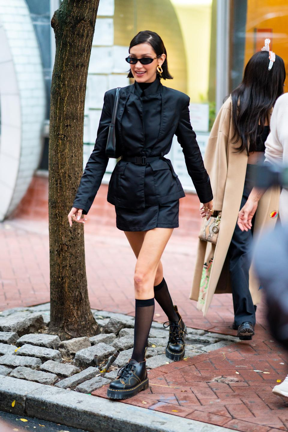 Bella Hadid has been a big fan of Dr Martens this year. [Photo: Getty]