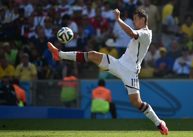 Germany's forward Miroslav Klose controls the ball during a quarter-final football match between France and Germany at the Maracana Stadium in Rio de Janeiro during the FIFA World Cup on July 4, 2014 (AFP Photo/Yasuyoshi Chiba)