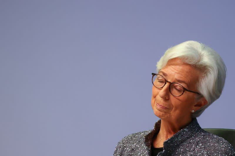 FILE PHOTO: European Central Bank (ECB) President Christine Lagarde reacts as she addresses a news conference on the outcome of the meeting of the Governing Council, in Frankfurt