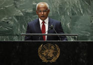 Maldives' President Ibrahim Mohamed Solih addresses the 76th Session of the U.N. General Assembly at United Nations headquarters in New York, on Tuesday, Sept. 21, 2021. ( Eduardo Munoz/Pool Photo via AP)