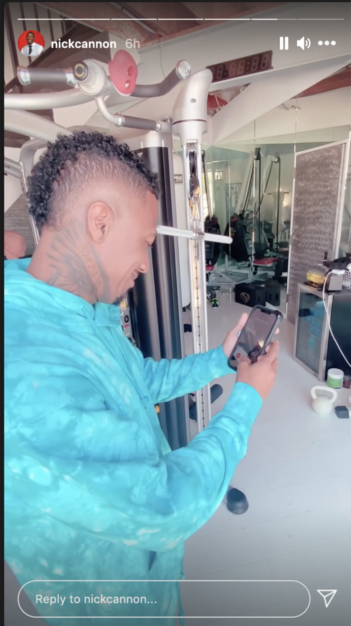 Cannon answers a call from a fan. (Nick Cannon / Instagram)