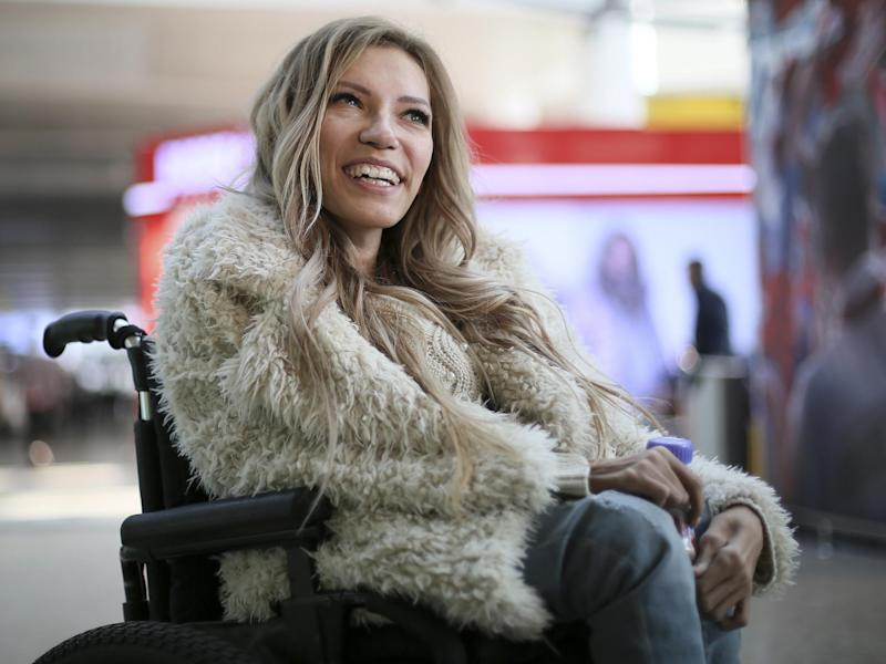 Russian singer Yulia Samoylova who was chosen to represent Russia in the 2017 Eurovision Song Contest, poses while sitting in a wheelchair at Sheremetyevo airport outside Moscow, Russia: AP