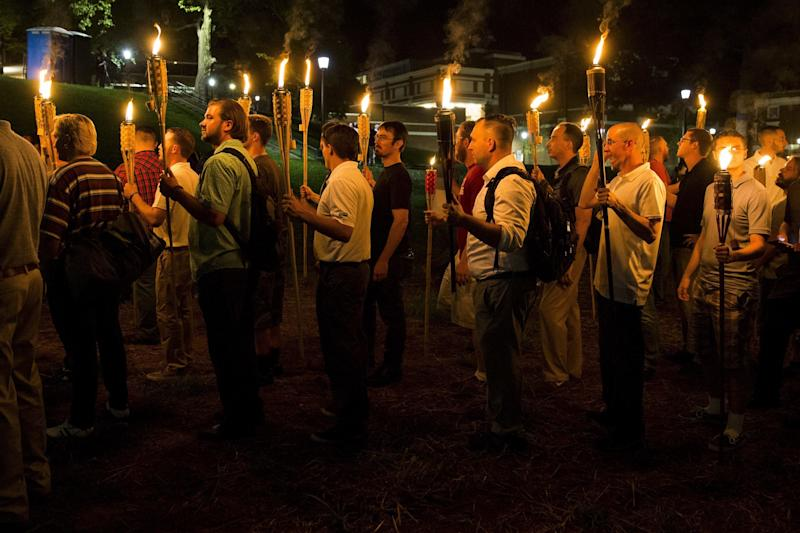 The group marched through the University of Virginia campus with torches.