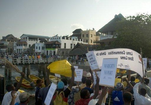 Lamu residents demonstrate yesterday against plans for a huge port near the UNESCO-listed isle
