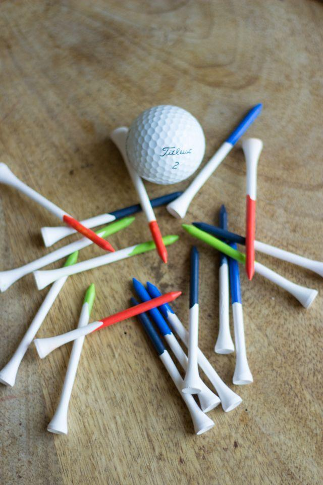 """<p>Dad will be the trendiest guy on the golf course with these paint-dipped tees. Plus, this is a safe, easy, and quick craft that the kids can help out with.<em><br></em></p><p><em>Get the tutorial at <a href=""""https://designimprovised.com/2013/06/fathers-day-craft.html"""" rel=""""nofollow noopener"""" target=""""_blank"""" data-ylk=""""slk:Design Improvised"""" class=""""link rapid-noclick-resp"""">Design Improvised</a>.</em></p><p><a class=""""link rapid-noclick-resp"""" href=""""https://www.amazon.com/Player-Supreme-Premium-Wood-Golf/dp/B07Q3WT7JC/?tag=syn-yahoo-20&ascsubtag=%5Bartid%7C10070.g.32697573%5Bsrc%7Cyahoo-us"""" rel=""""nofollow noopener"""" target=""""_blank"""" data-ylk=""""slk:SHOP GOLF TEES"""">SHOP GOLF TEES</a><em><br></em></p>"""