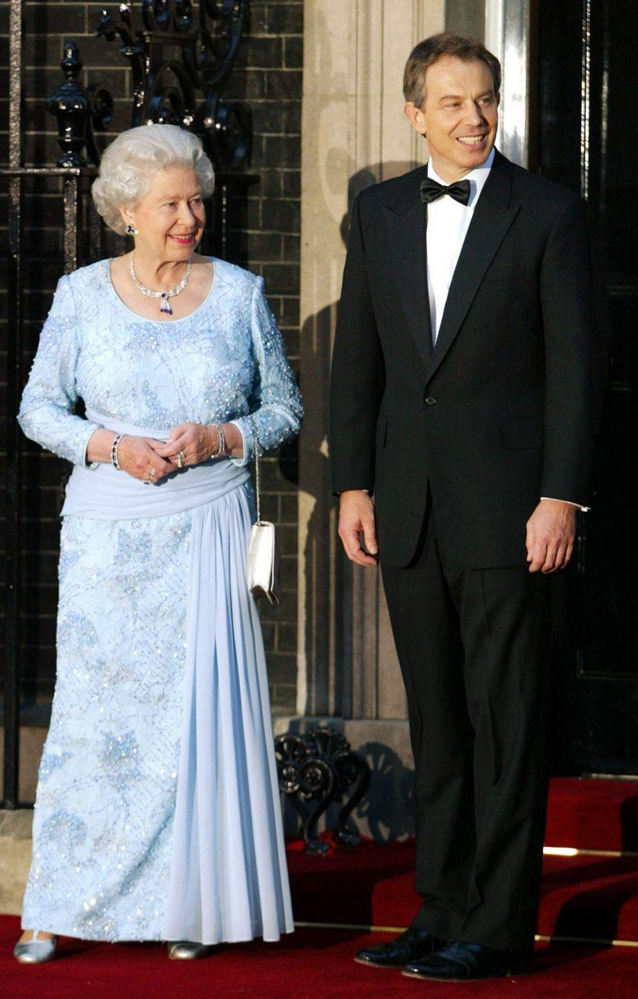 <p>In 2002, Queen Elizabeth attended a dinner at 10 Downing Street to celebrate her golden jubilee. She wore a tassel necklace, trefoil earrings, and bracelet. While their provenance is unknown, they have been rumored to have been a gift from Middle Eastern royalty (another similar tassel necklace belonging to the queen, set in emeralds, is said to have come from Sheikh Zayed bin Sultan Al Nahyan of the United Arab Emirates).</p>