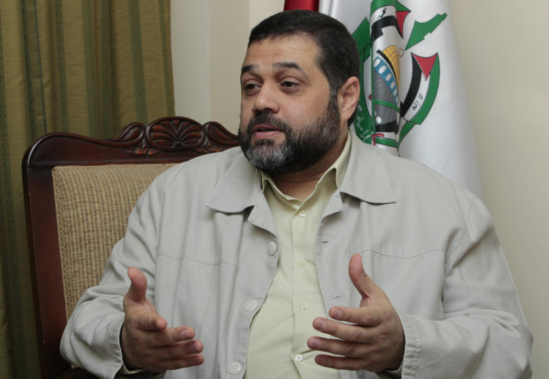 Osama Hamdan, who handles foreign relations for Hamas, speaks during an interview with The Associated Press, in the southern suburb of Beirut, Lebanon, on Wednesday May 2, 2012. Hamdan said the Islamic militant group has been holding secret political talks with five European Union member states in recent months. He also said that the talks with European government officials focus on the Hamas positions toward Israel and paralyzed Mideast peace efforts. (AP Photo/Hussein Malla)