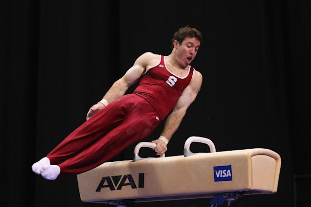 ST. LOUIS, MO - JUNE 9: Ryan Lieberman competes on the parallel bars during the Senior Men's competition on Day Three of the Visa Championships at Chaifetz Arena on June 9, 2012 in St. Louis, Missouri. (Photo by Dilip Vishwanat/Getty Images)