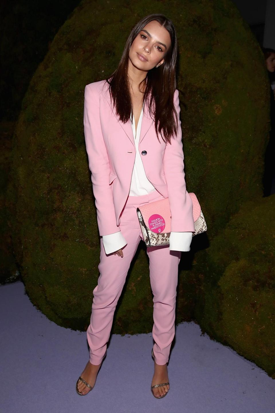 <p>Emily Ratajkowski opted for a pink power suit. <i>[Photo: Getty]</i> </p>