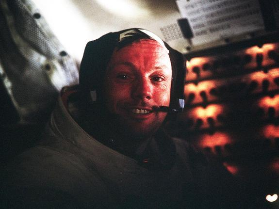 Astronaut Neil A. Armstrong, Apollo 11 Commander, inside the Lunar Module as it rests on the lunar surface after completion of his historic moonwalk in July 1969.