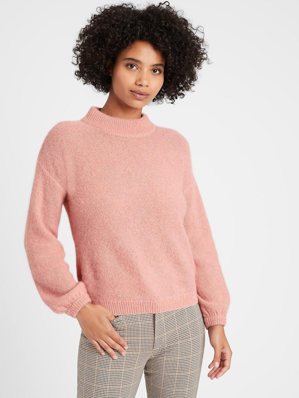 <p>How peachy is this <span>Banana Republic Relaxed Balloon-Sleeve Sweater</span> ($65, originally $90) with patterned pants?</p>
