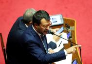 Leader of Italy's far-right League party Matteo Salvini addresses the upper house of parliament, in Rome