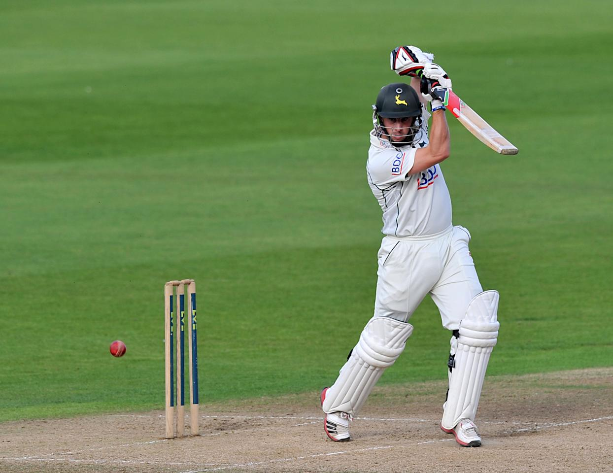 Norringhamshire's Steven Mullaney bats during the LV= County Championship, Division One match at Trent Bridge, Nottingham.