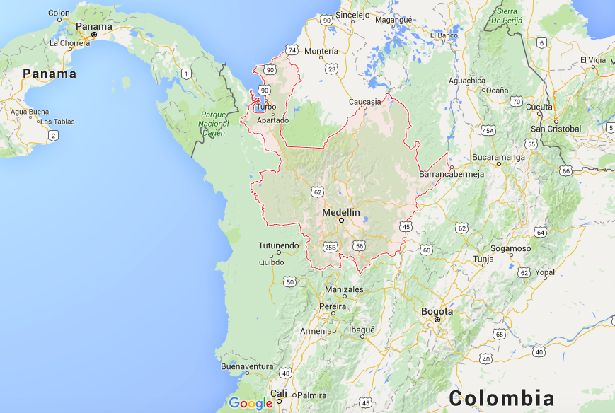 Colombia Antioquia map
