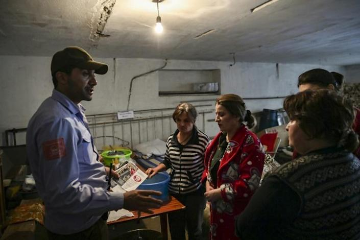 Halo Trust members have been informing Stepanakert residents in their underground shelters about the danger from cluster munitions