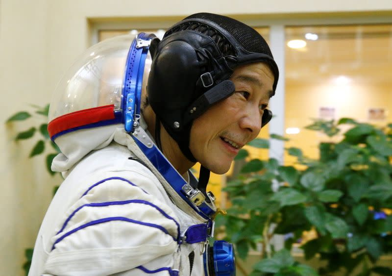 Space flight participant Yusaku Maezawa attends a training session ahead of the expedition to the ISS, in Star City