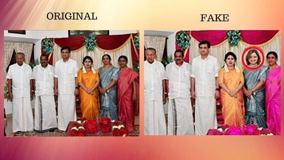 A photo of Chief Minister Pinarayi Vijayan's daughter's wedding was morphed with the picture of Swapna Suresh.