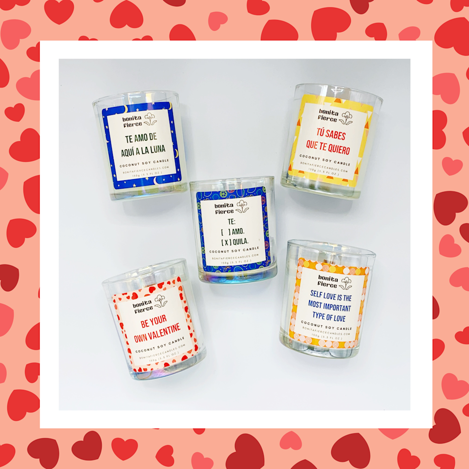 """<p><strong>Bonita Fierce</strong></p><p>bonitafiercecandles.com</p><p><strong>$42.00</strong></p><p><a href=""""https://bonitafiercecandles.com/collections/gift-sets/products/mucho-amor-mini-candle-gift-set"""" rel=""""nofollow noopener"""" target=""""_blank"""" data-ylk=""""slk:SHOP NOW"""" class=""""link rapid-noclick-resp"""">SHOP NOW</a></p><p>Candles are honestly a must, IMO. These ones from Bonita Fierce are made of vegan coconut soy wax and they're paraben-free. Plus<strong>, </strong>they have the coolest labels on them, too.</p>"""
