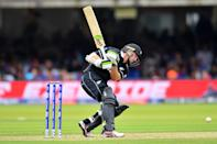 Latham is hit by a ball (Photo by Clive Mason/Getty Images)