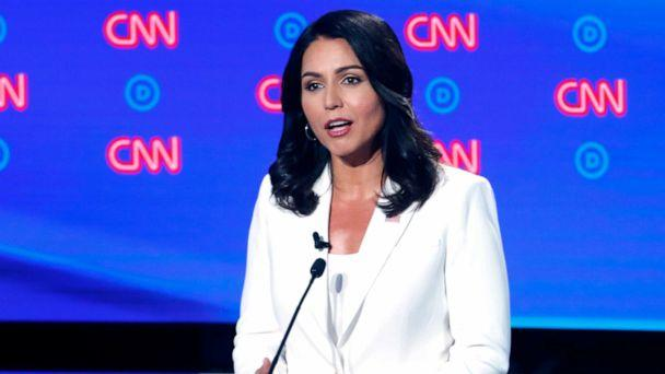 PHOTO:Rep. Tulsi Gabbard, D-Hawaii, speaks during the second of two Democratic presidential primary debates, July 31, 2019, in Detroit. (Paul Sancya/AP)