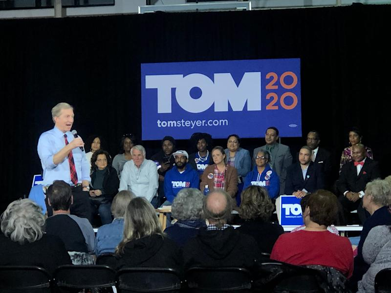 Democratic presidential candidate Tom Steyer campaigns at the Freedom Center in Rock Hill, SC on Feb. 10, 2020.