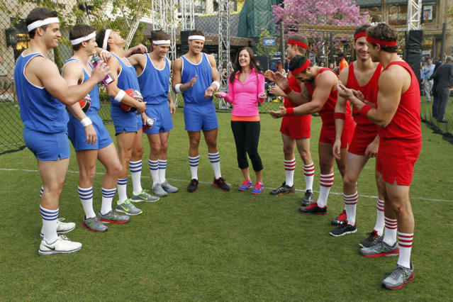 """Episode 903"" - Desiree pulls out all the stops and brings in the pros from the National Dodgeball League to teach the guys how to take their game to the next level. After a spirited practice session, the blue team of bachelors takes on the red team at the Americana in Los Angeles. The clash of titans ends up in an enormous heap, sending one person to the ER with a broken bone. How will this affect that night's after-party? Chris sweeps Desiree off her feet and sparks begin to fly. The two escape for a private concert under the stars by soul/pop/gospel singer Kate Earl, on ""The Bachelorette."""