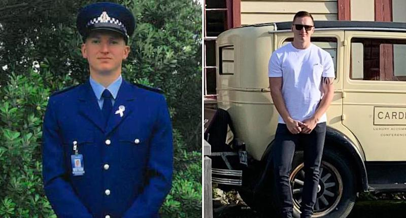 Pictured is New Zealand Police Constable Matthew Dennis Hunt, 28, both in uniform and in plain clothes.