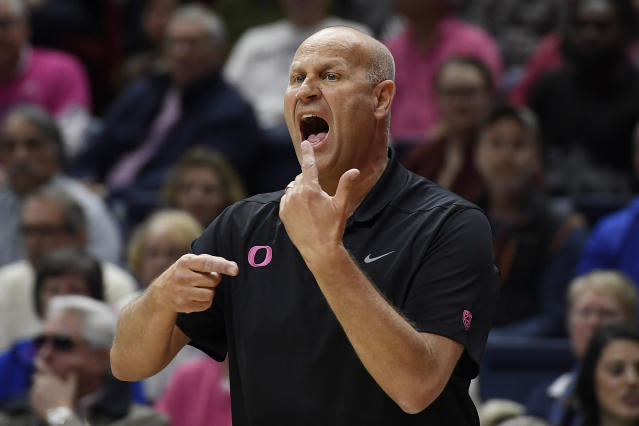Oregon head coach Kelly Graves gestures to his team in the first half of an NCAA college basketball game against Connecticut, Monday, Feb. 3, 2020, in Storrs, Conn. (AP Photo/Jessica Hill)